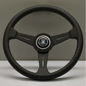 Nardi Steering Wheel - Classic Leather - 340mm (13.39 inches) - Black Leather with Grey Stitching - Black Spokes - Part # 6061.34.2001