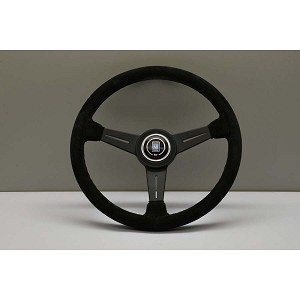 Nardi Steering Wheel - Classic Leather - 360mm (14.17 inches) - Black Suede Leather with Black Stitching - Black Spokes - Part # 6061.36.2081