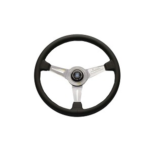 Nardi 360 mm Classic Steering Wheel - Black Smooth Leather - Gray Stitching  / Polished Spokes - Part # 6061.36.3001