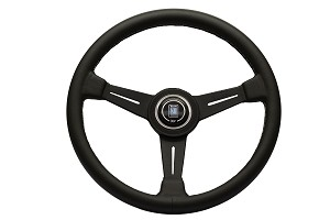 Nardi Steering Wheel - Classic Leather - 390mm (15.35 inches) - Black Leather with Grey Stitching - Black Spokes - Part # 6061.39.2001