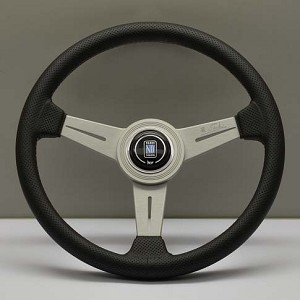 Nardi Steering Wheel - Classic Leather - 340mm (13.39 inches) - Black Perforated Leather with Grey Stitching - Anodized White Spokes - Part # 6062.34.1092