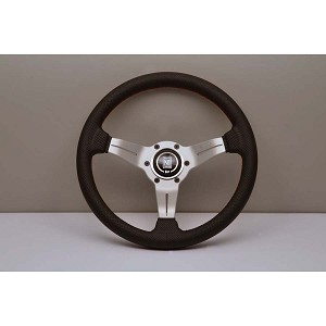 Nardi Steering Wheel - Deep Corn - 330mm (12.99 inches) - Black Perforated Leather with Red Stitching - White Anodized Spokes - Classic Horn Button - Part # 6069.33.1093