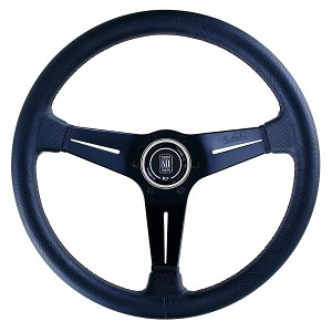 Nardi Steering Wheel - Deep Corn - 350mm (13.78 inches) - Black Perforated Leather with Red Stitching - Black Spokes - Classic Horn Button - Part # 6069.35.2093
