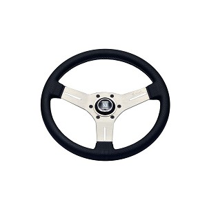 Nardi Steering Wheel - Competition - 330mm (12.99 inches) - Black Perforated Leather with Grey Stitching - White Anodized Spokes - Classic Horn Button - Part # 6070.33.1091