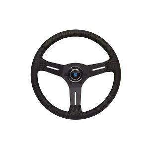 Nardi Steering Wheel - Competition - 330mm (12.99 inches) - Black Perforated Leather with Grey Stitching - Black Spokes - Classic Horn Button - Part # 6070.33.2091