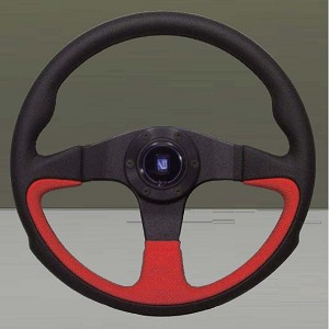 Nardi Steering Wheel - Challenge - 350 mm - Black Leather - Red Perforated Leather Part # 6089.35.2090