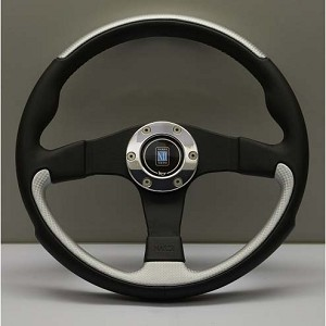 Nardi Steering Wheel - Leader - 350mm (13.78 inches) - Black / Silver Leather