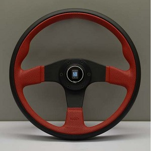 Nardi Steering Wheel - Twin Line - 350mm (13.78 inches) - Black Leather and Red Perforated Leather - Black Spokes - Part # 6092.35.2011