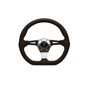 Nardi Steering Wheel - Kallista - 350mm (13.78 inches) - Black Leather / Black Perforated Leather - Polished Spokes - Part # 6314.35.3071