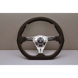 Nardi Steering Wheel - Kallista Metal - 350mm (13.78 inches) - Black Leather / Black Perforated Leather - Polished Spokes - Part # 6315.35.3071