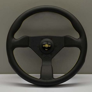 Personal Steering Wheel - Grinta 350 mm Black Leather with Yellow Stitching