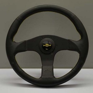 Personal Steering Wheel - Neo Actis - 330 mm Black Leather with Yellow Logo