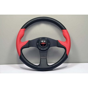 Personal Steering Wheel - Thunder - 350mm (13.78 inches) - Black Leather / Red Perforated Leather - Black Spokes - Part # 6520.35.2091