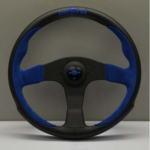 Personal Steering Wheel - Pole Position - 330mm (13.78 inches) - Black Leather / Blue Suede Leather - Black Spokes - Part # 6521.33.2003