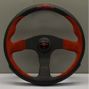 Personal Steering Wheel - Pole Position - 330mm (13.78 inches) - Black Leather / Red Suede Leather - Black Spokes - Part # 6521.33.2011