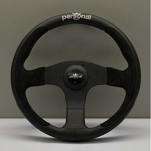 Personal Steering Wheel - Pole Position - 330mm (12.99 inches) - Black Leather / Black Suede Leather - Black Spokes - Part # 6521.33.2091