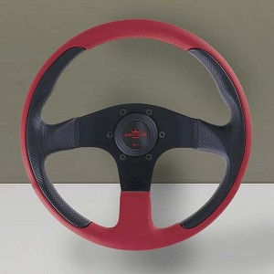 Personal Steering Wheel - New Racing - 320mm (12.59 inches) - Black Perforated Leather / Red Leather - Black Spokes - Part # 6771.32.2062