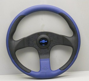 Personal Steering wheel - 320mm -New Racing - Blue Leather + Black Perforated Leather w/ Black Spokes  - Part # 6771.32.2063