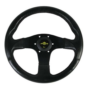 Personal Steering Wheel - Blitz - 330mm (12.99 inches) - Black Polyurethane - Black Spokes - Yellow Logo Horn Button - Part # 8474.32.2001