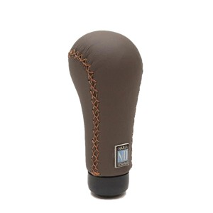 Nardi Gear Shift (Shifter) Knob - Prestige - Brown Smooth Leather with Brown Cross-Stitching - Part # 3222.07.0000