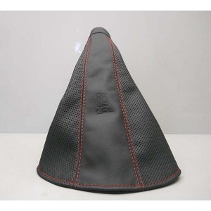 Nardi E-Brake Boot - Black Leather & Black Perforated Leather with Red Stitching - Part # 3900.04.0000