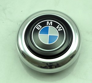 Nardi Center Ring and Horn Button - Anni '50 / '60 - Polished Center Piece - Black Horn Button with BMW Logo - Part # 4041.01.0212 [BMW]