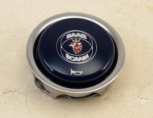 Nardi Horn Button - Blue with Chrome Trim and Saab-Scania Logo - Part # 4041.01.0214