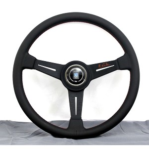 Nardi Steering Wheel - Classic Leather - 360mm (14.17 inches) - Black Leather with Orange Cross Stitching - Black Spokes with Orange Signature - Black Trim Ring - Classic Horn Button - Part # 6061.36.2001 (OR-S)