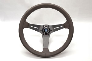Nardi Steering Wheel - Deep Corn Revolution - 350mm (13.78 inches) - Brown Smooth Leather with Brown Cross-Stitching - Anodized Brown Spokes - Classic Horn Button - Part # 6069.35.7055