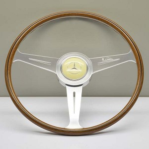 "Nardi Steering Wheel - Vintage Replica - 420mm (16.54 inches) - Mahogany Wood with Flat Spokes - Mercedes 300 SL "" Gullswing "" - Part # 5811.42.3000"