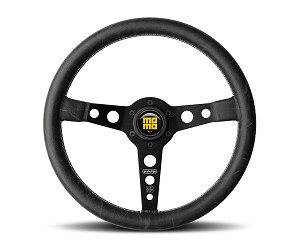 MOMO Heritage Steering Wheel - Prototipo Heritage - 350mm Black Distressed Leather with Brushed Black spokes - Part # PRH35BK2B