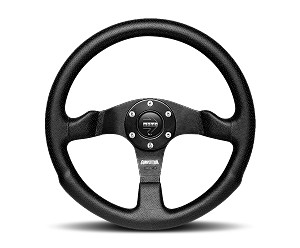 MOMO Street Steering Wheel - Competition - 350mm Black Air Leather with Brushed Black spokes - Part # COM35BK0B