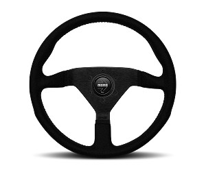 MOMO Street Steering Wheel - Montecarlo Alcantara - 320mm Black Alcantara with Brushed Black spokes - Part # MCL32AL1B