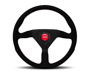 MOMO Street Steering Wheel - Montecarlo Alcantara - 320mm Black Alcantara with Red Stitching and Brushed Black spokes - Part # MCL32AL3B