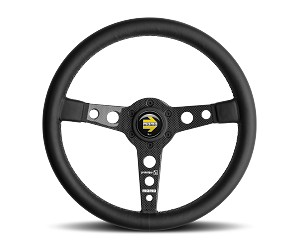 MOMO Street Steering Wheel - Prototipo 6C - 350mm Black Leather with Carbon Fiber spokes - Part # PRO35BK1C