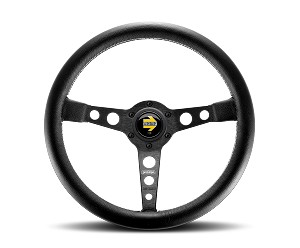 MOMO Street Steering Wheel - Prototipo - 350mm Black Leather with Brushed Black spokes - Part # PRO35BK2B