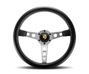 MOMO Street Steering Wheel - Prototipo - 350mm Black Leather with Brushed Aluminum spokes - Part # PRO35BK0S