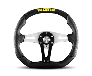 MOMO Street Steering Wheel - Trek - 350mm Black Airleather w/ Black Leather and Black Suede Insert and Brushed Aluminum spokes - Part # TRK35K0B