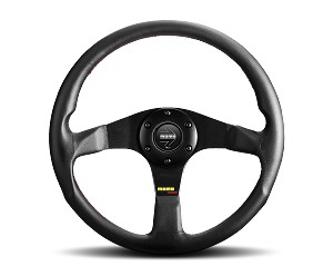 MOMO Street Steering Wheel - Tuner - 350mm Black Leather with Brushed Black spokes - Part # TUN35BK0B