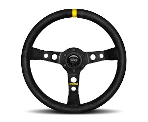 MOMO Track Steering Wheel - MOD.07 - 350mm Black Suede w/ Yellow Stripe and Brushed Black spokes - Part # R1905/35S