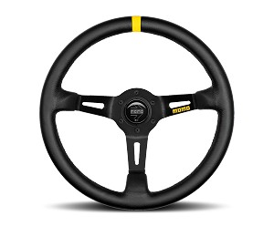 MOMO Track Steering Wheel - MOD.08 - 350mm Black Leather w/ Yellow Stripe and Brushed Black spokes - Part # R1908/35L