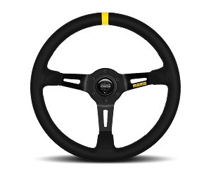 MOMO Track Steering Wheel - MOD.08 - 350mm Black Suede w/ Yellow Stripe and Brushed Black spokes - Part # R1908/35S