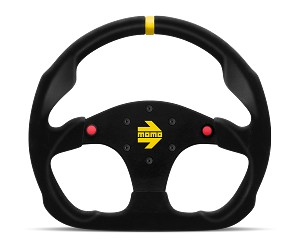 MOMO Track Steering Wheel - MOD.30 Buttons - 320mm Black Suede w/ Yellow Stripe and Brushed Black spokes - Part # R1960/32SHB