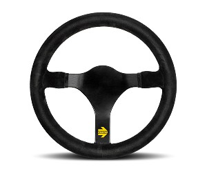 MOMO Track Steering Wheel - MOD.31 - 340mm Black Suede with Brushed Black spokes - Part # R1930/34S