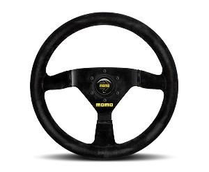 MOMO Track Steering Wheel - MOD.69 - 350mm Black Suede with Brushed Black spokes - Part # R1913/35S