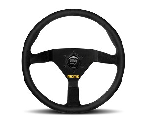 MOMO Track Steering Wheel - MOD.78 - 350mm Black Leather with Brushed Black spokes - Part # R1909/35L