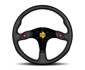 MOMO Track Steering Wheel - MOD.80 - 350mm Black Leather with Brushed Black spokes - Part # R1980/35L
