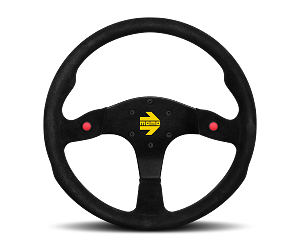 MOMO Track Steering Wheel - MOD.80 - 350mm Black Suede with Brushed Black spokes - Part # R1980/35S