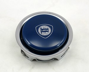 Nardi Steering Wheel Horn Button - Blue with Chrome Trim and Lancia Logo - Part # 4041.01.0215