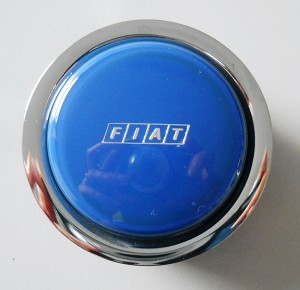 Nardi Steering Wheel Horn Button - Blue with Chrome Trim and Fiat Logo - Part # 4041.01.0216